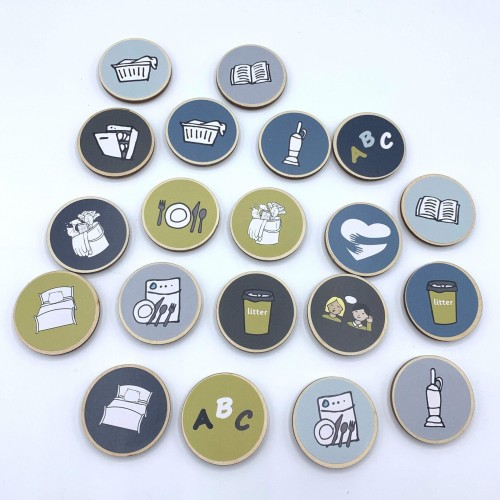 Customised Chore Tokens Magnets - Choose Your Own Text, Picture, Colour