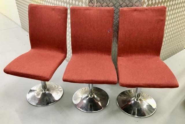 set 3 swivel fabric chairs