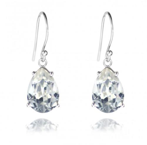 Dangle Earrings with Pear Shaped Swarovski®, in Sterling Silver