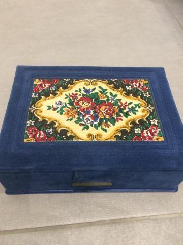 Blue velvet jewellery box