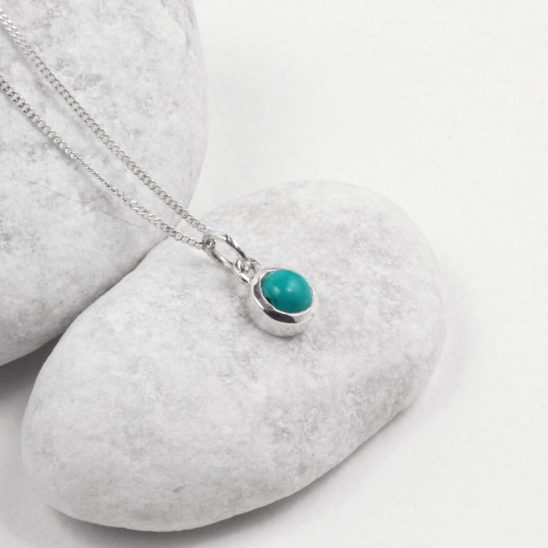 December Birthstone Necklace - Turquoise Gemstone Charm in Sterling Silver
