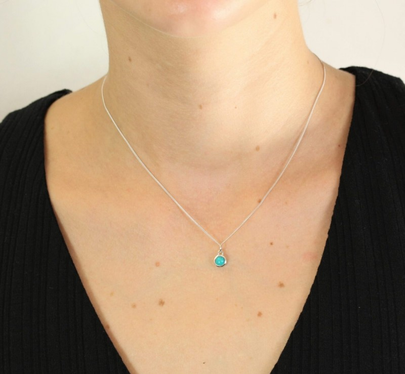 December Birthstone Necklace - Turquoise Gemstone Charm in Sterling Silver 2