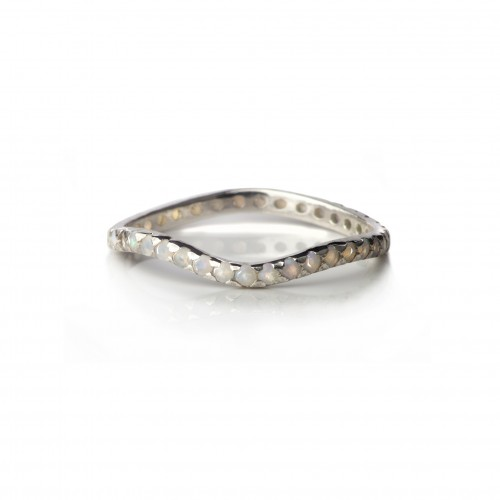 Delicate Full Curved Ring with Opal in Sterling Silver