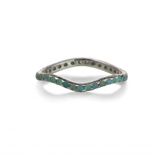 Delicate Full Curved Ring with Turquoise in Sterling Silver