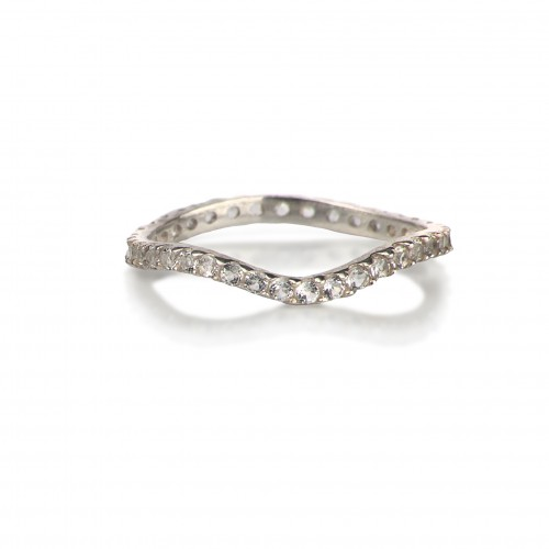 Delicate Full Curved Ring with White Topaz in Sterling Silver