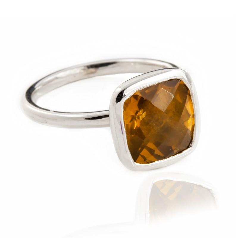 Desert Sunset Quartz Ring in Sterling Silver