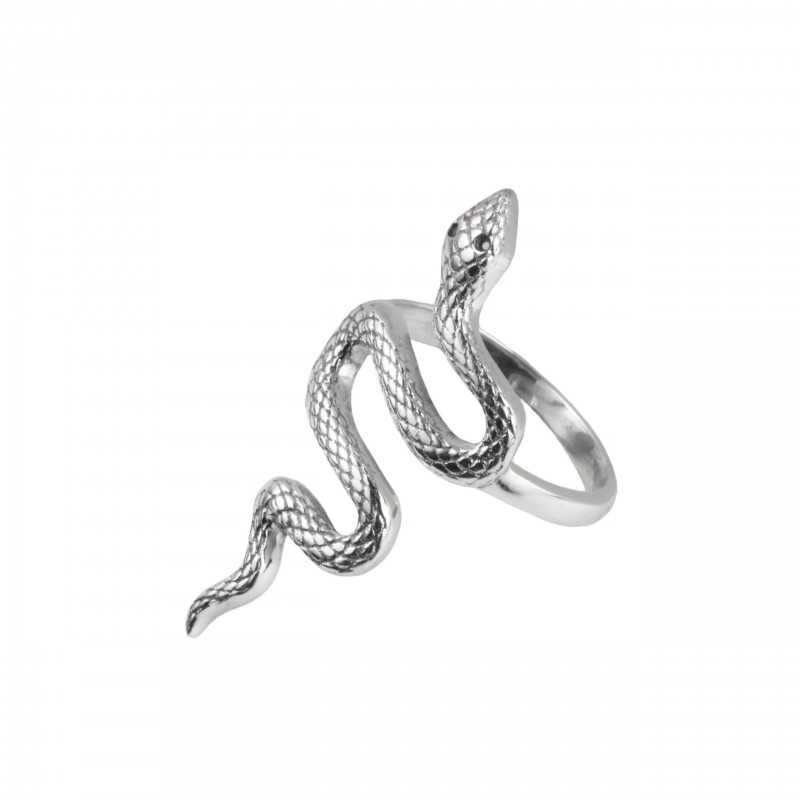 Detailed Snake Ring in Sterling Silver with Black Spinels