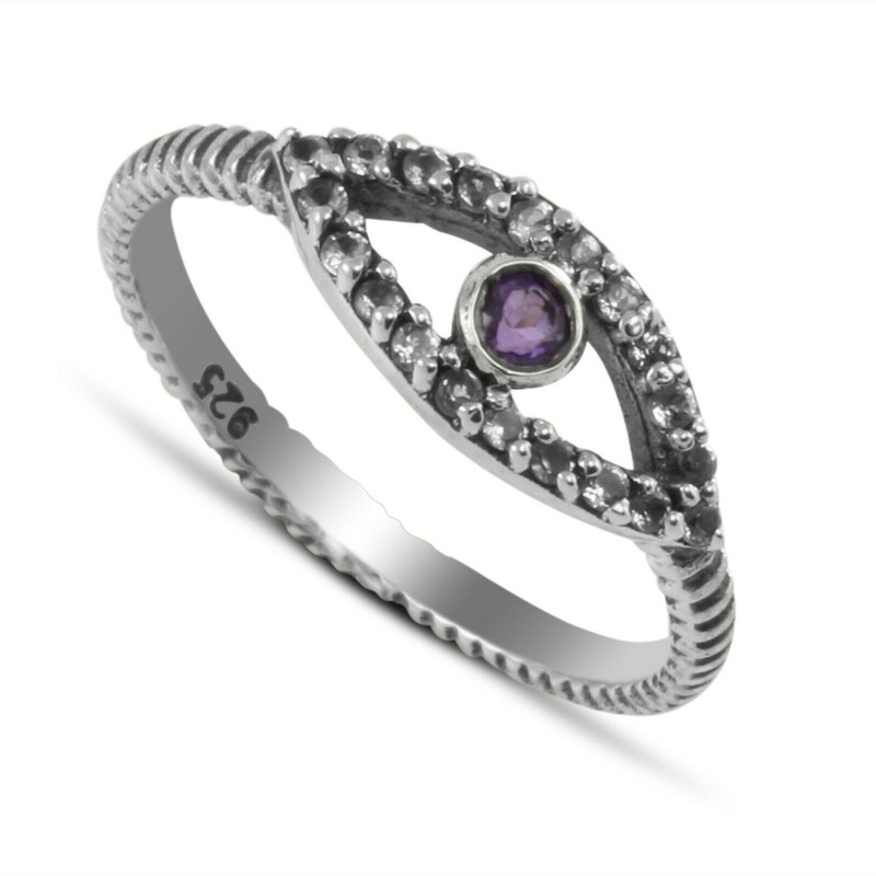 Evil Eye ring with Amethyst and Cubic Zirconia in Sterling Silver 1