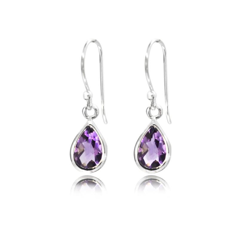 Faceted Amethyst Teardrop/dangle earrings in sterling silver