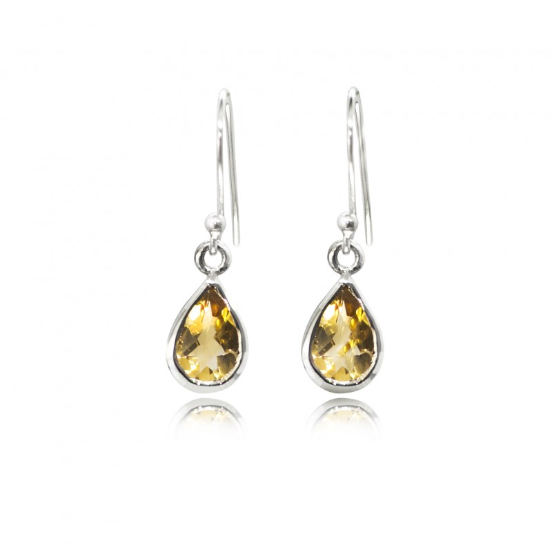 Faceted Citrine Teardrop/dangle earrings in sterling silver