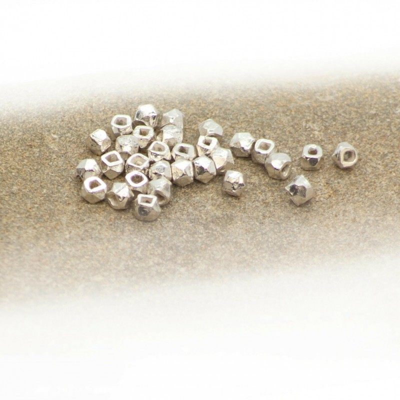 Faceted Round Hollow Beads in 925 Sterling Silver – 3mm Diameter