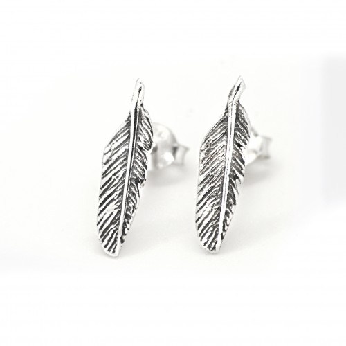 Feather Stud Earrings with Butterfly Fastening in Nickel-Free Sterling Silver