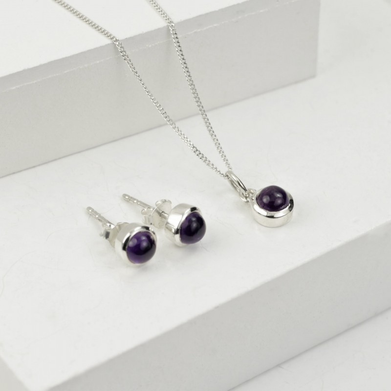 February Birthstone Jewellery Set - Amethyst Studs and Charm Necklace
