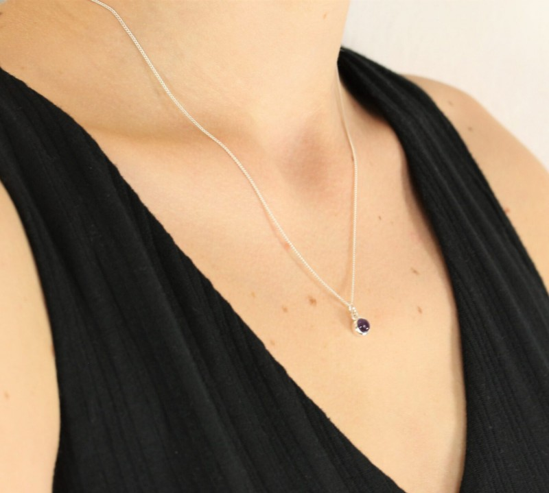 February Birthstone Jewellery Set - Amethyst Studs and Charm Necklace 3