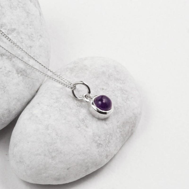 February Birthstone Necklace - Amethyst Gemstone Charm in Sterling Silver