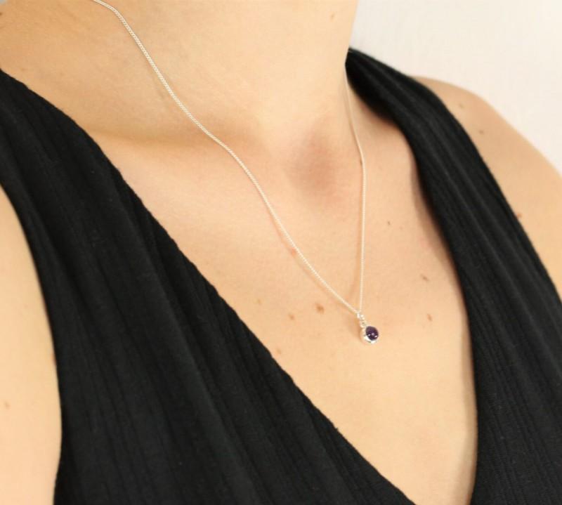 February Birthstone Necklace - Amethyst Gemstone Charm in Sterling Silver 2