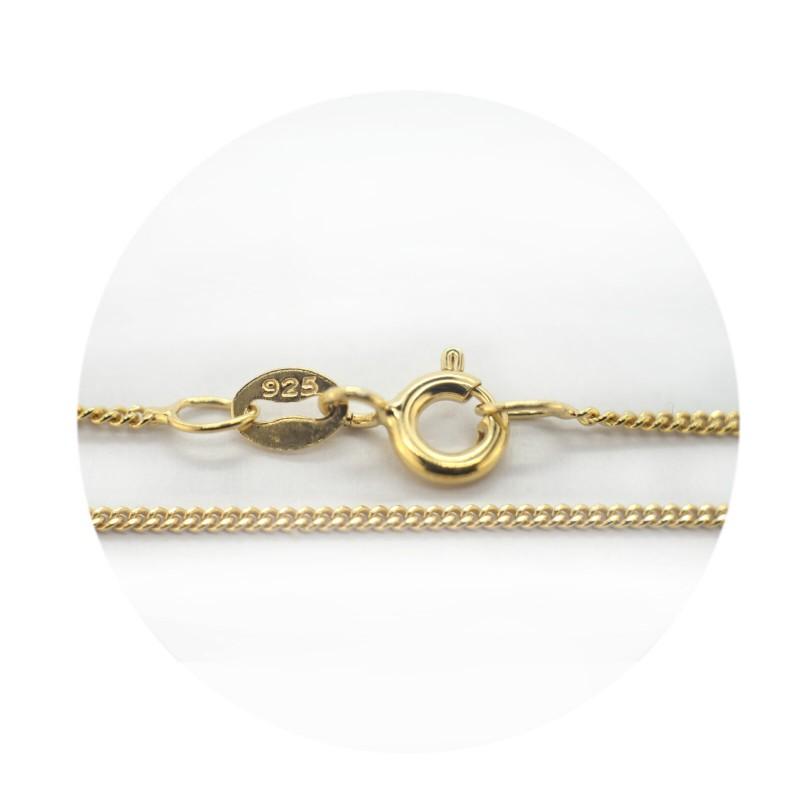 Fine Diamond Cut Curb Chain in Gold Vermeil- Various Lengths