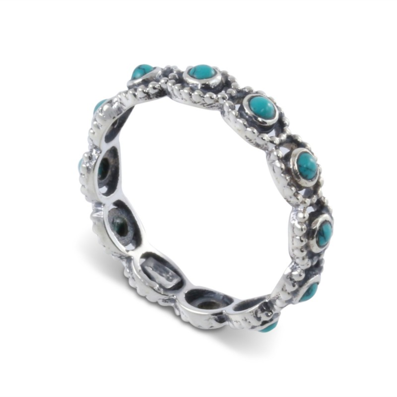 Fine Multi-Stone Turquoise Band in Sterling Silver