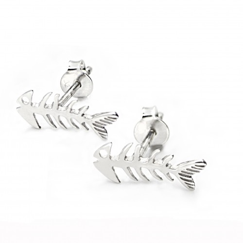 Fishbone Stud Earrings with Butterfly Fastening in Sterling Silver