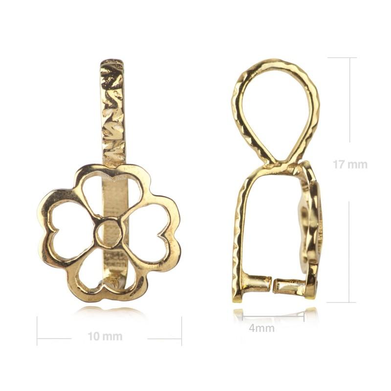 Flower Pendant Pinch Bail in Gold Vermeil 2