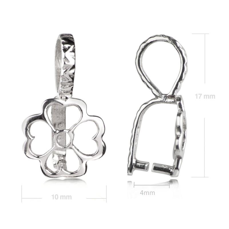 Flower Pendant Pinch Bail in Sterling silver 2