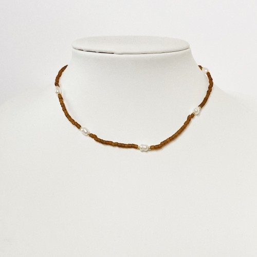 Freshwater Pearls And Bead Necklace - Choker
