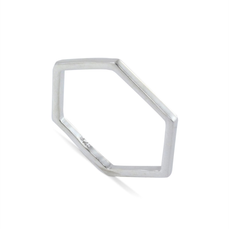 Geometrical Hexagon Band in Sterling Silver