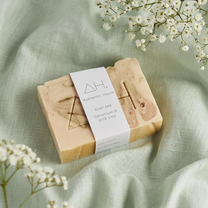 Geranium & pink clay soap