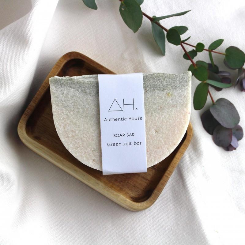 Green salt soap bar