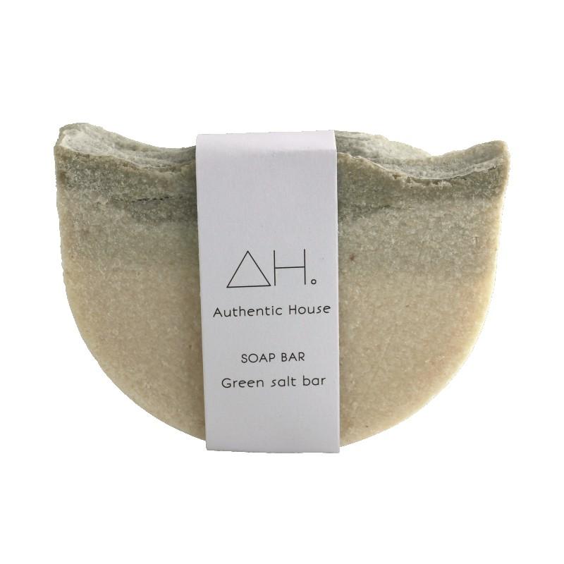 Green salt soap bar 2