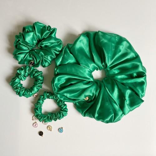 Green Satin Hair Scrunchies