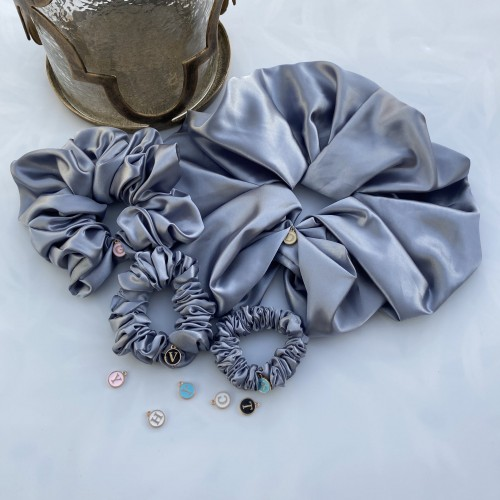 Grey Satin Hair Scrunchies
