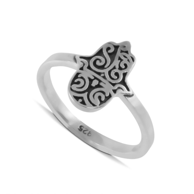 Hamsa Ring, Fatima Hand Ring in Sterling Silver