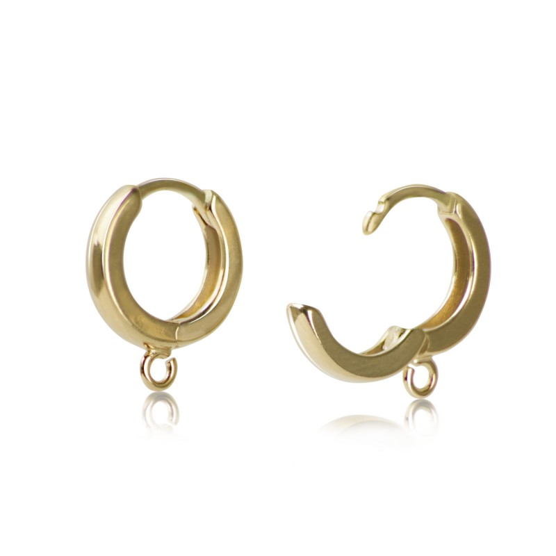 Hinged Huggy Hoops Earring Findings in Gold Vermeil- 12mm Diameter