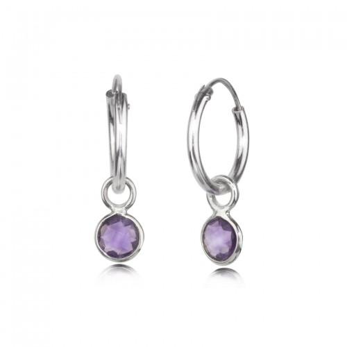 Hoop Earrings with Amethyst Charm in Sterling Silver
