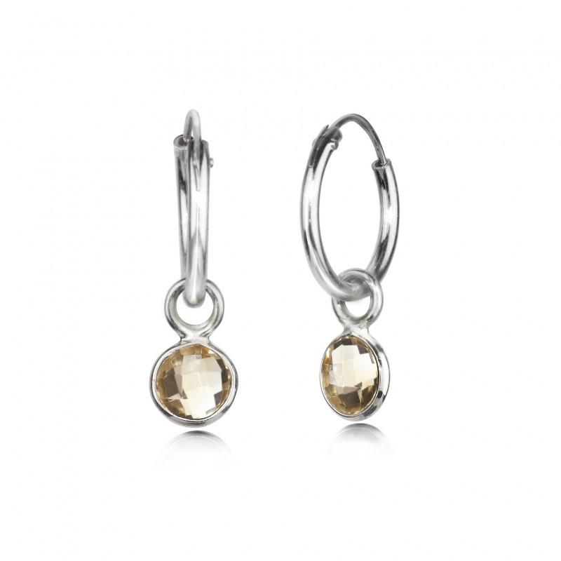 Hoop Earrings with Citrine Charm in Sterling Silver