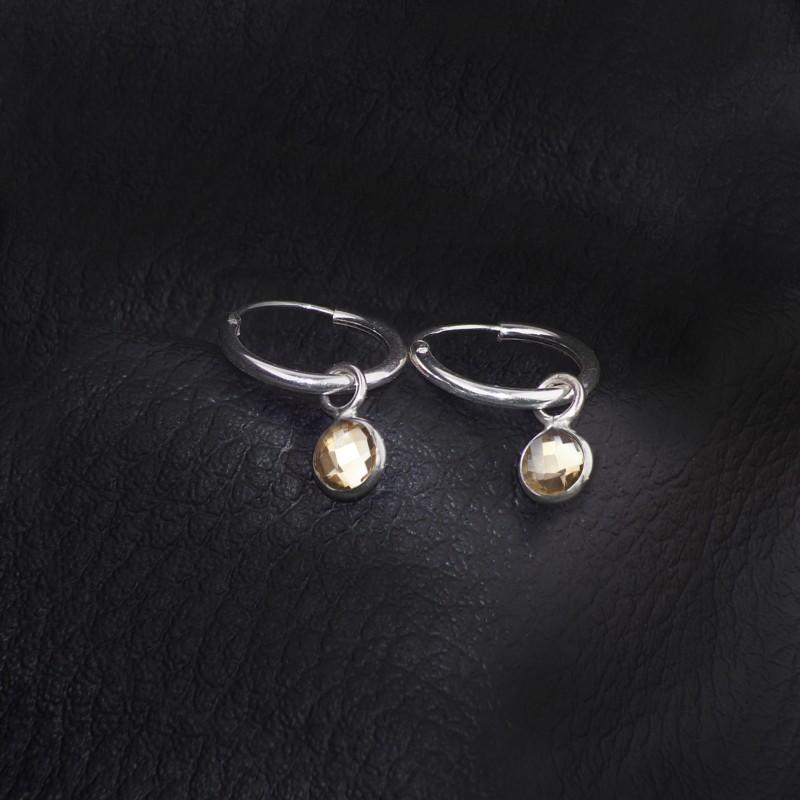 Hoop Earrings with Citrine Charm in Sterling Silver 2