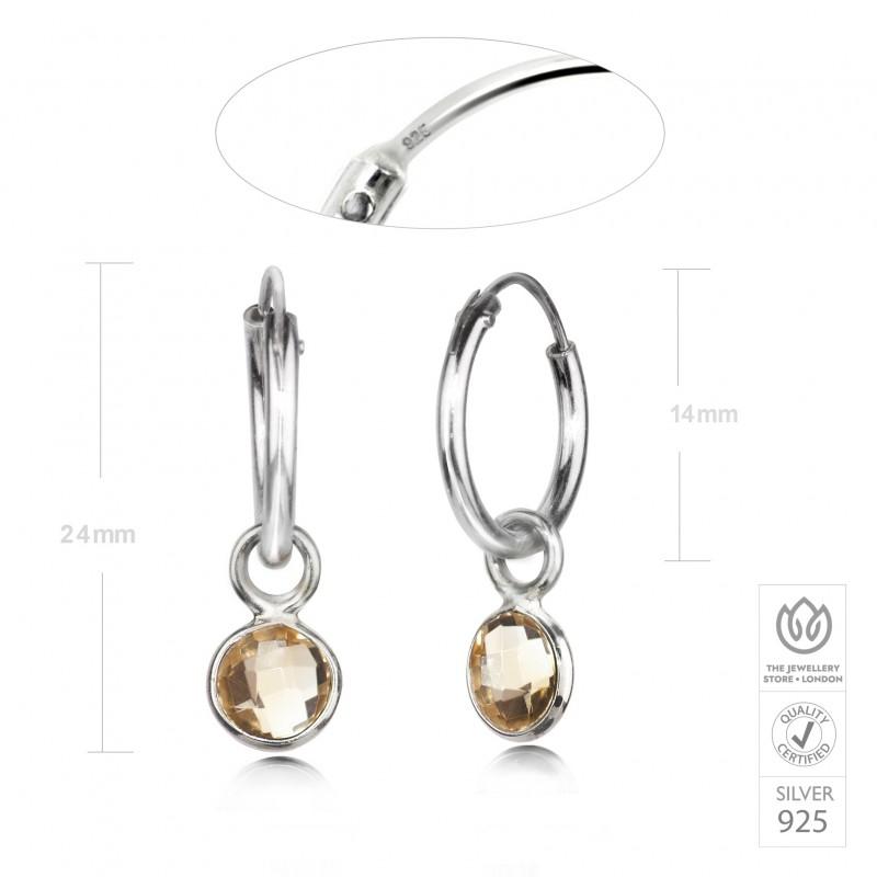 Hoop Earrings with Citrine Charm in Sterling Silver 3