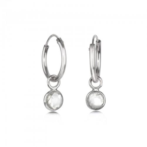 Hoop Earrings with Crystal Charm in Sterling Silver