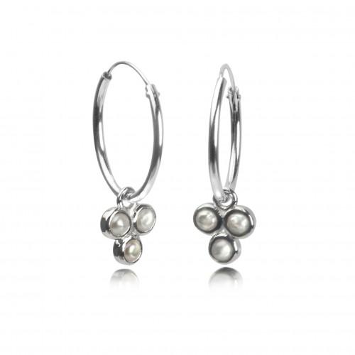 Hoop Earrings with Fresh Water Pearl Trilogy Charm in Sterling Silver