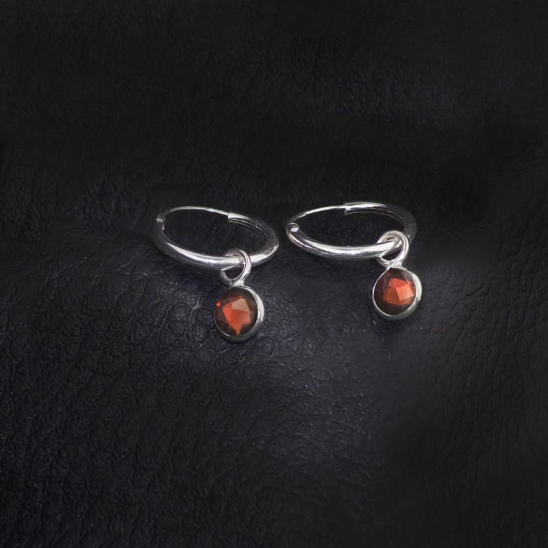 Hoop Earrings with Garnet Charm in Sterling Silver 2
