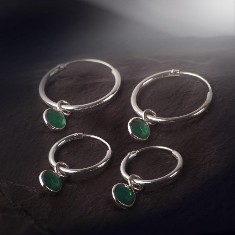 Hoop Earrings with Garnet Charm in Sterling Silver 4