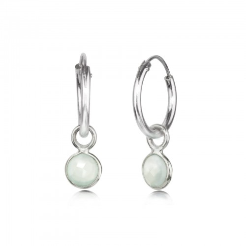 Hoop Earrings with Aqua Chalcedony Charm, in Sterling Silver