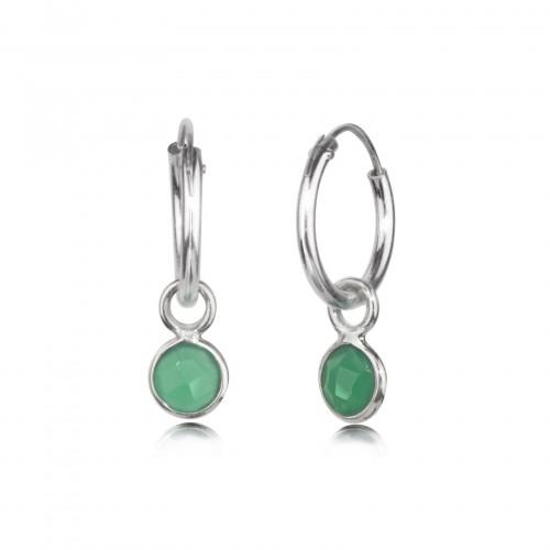 Hoop Earrings with Green Onyx Charm in Sterling Silver