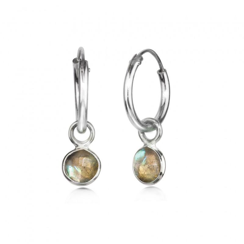 Hoop Earrings with Labradorite Charm in Sterling Silver