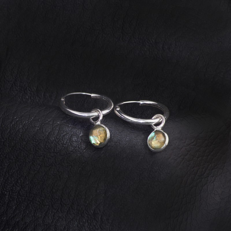 Hoop Earrings with Labradorite Charm in Sterling Silver 2