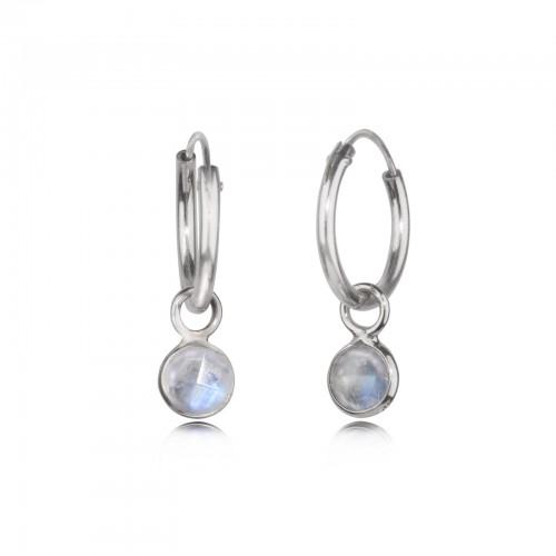 Hoop Earrings with Moonstone Charm in Sterling Silver