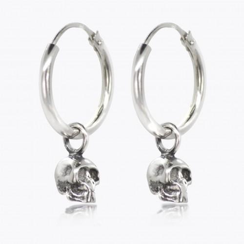 Hoop Earrings with Skull Charm in Sterling Silver