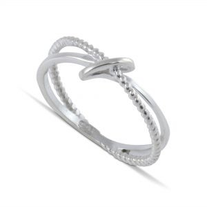 Infinity Sign Ring with Plain and Beaded Wires in Sterling Silver
