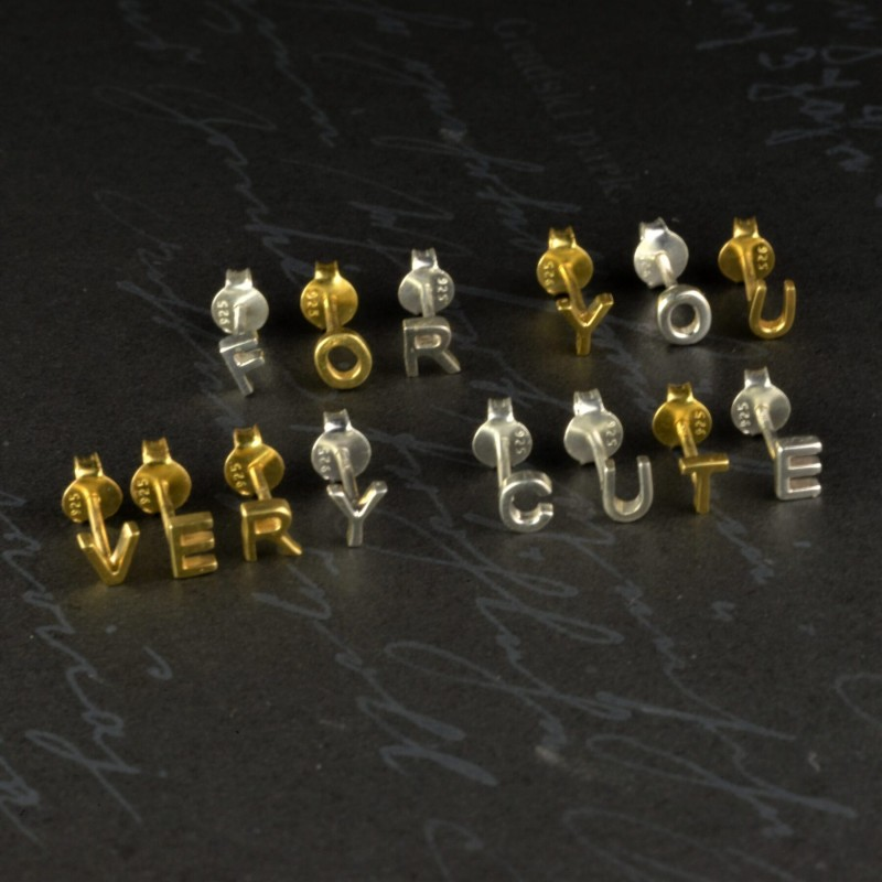Initial studs/Alphabet studs in Sterling Silver 3